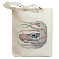 Retro White Octopus Eco Friendly Canvas Tote Bag (id6406)