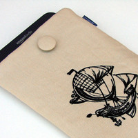 Kindle sleeve Kindle Fire cover padded Hot Air Balloon Ship  embroidery on linen Steam Punk