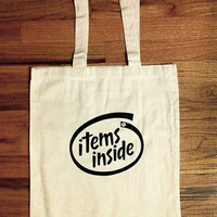 Items Inside Tote Bag by dualhabit on Etsy