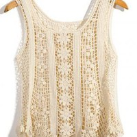 Ivory Floral Sleeveless Crochet Top
