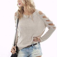 Ivory Long Sleeve Knit with Cutout Sleeves&High-Low Hemline