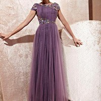 Purple Net Beads Temperament Evening Dress 80989 from locascio