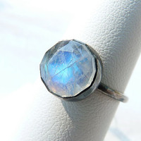 Rainbow moonstone ring - blackened silver ring - cocktail ring - size 7