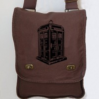 Tardis Messenger Bag Doctor Who Brown Canvas Messenger Police Box Lap