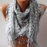 Light Grey Scarf with Trim Edge - Summer Collection