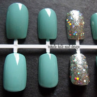 Tiffany Blue with Silver Holographic Glitter Accent False Nail Set