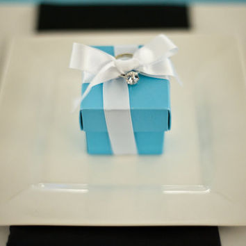 Tiffany Blue Wedding Favor Boxes WITH White Ribbon & Candy- Fully Assembled