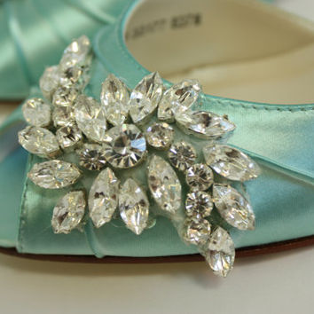 Wedding Shoes - Tiffany Blue Wedding Sparkling Crystals - Dyeable Shoes - Tiffany Blue - Choose From Over 100 Colors - Short Heel - Parisxox