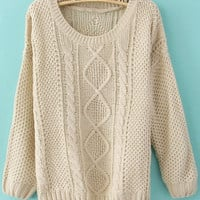 Beige Round Neck Broken Stripe Sweater - Sheinside.com