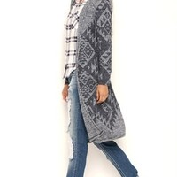 Long Sleeve Aztec Print Marled Duster Sweater with Hood