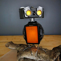 Owlberto The Wise - Camera Owl Robot Lamp Assemblage