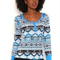 Long Sleeve Fair Isle Print Henley Top with Solid Cuffs