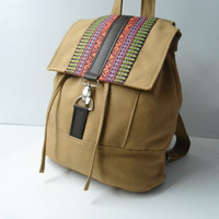 Camel canvas and homespun Backpack--handmade bag/Backpack/Messenger / Rucksack/Adjustable strap-camel canvas fabric by lalitathaicraft