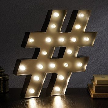 Hashtag - LED Illuminated Marquee Sign - # Number - 13-1/2-in