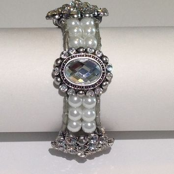 Handmade Bracelet with Glass Pearls and Bling from Beaded Bracciale