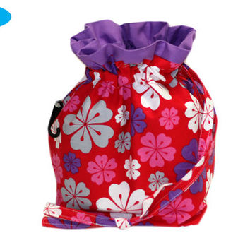 NEW Hawaiian Flower Project Bag | Red Sock Bag | Tropical Knitting Project Bag | Floral Drawstring Bag | Hawaii Knitting Pouch