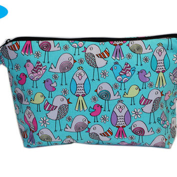 NEW Large Wristlet with Birds | Teal Makeup Bag | Large Zipper Bag | Aqua Toiletry Bag | Chevron Cosmetic Case with Pocket