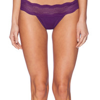 Cosabella Dolce Ribbed Lace Thong in Purple