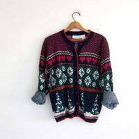 vintage ugly Christmas sweater / tacky christmas cardigan sweater / holiday party sweater / hearts and trees