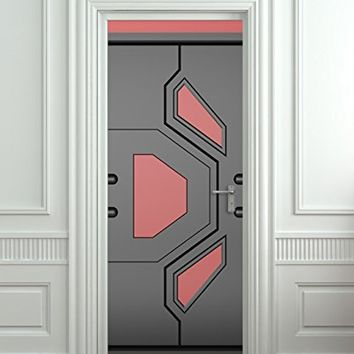 "Door STICKER futuristic gate hi-tech star trek mural decole film self-adhesive poster 30x79""(77x200 cm)"