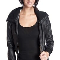 Shearling Lined Ribbed Collar Faux Leather Moto Jacket - Black