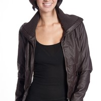 Shearling Lined Ribbed Collar Faux Leather Moto Jacket - Brown