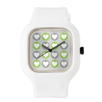 Modern Hearts - Gray and Green Watch