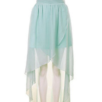 High Waist Chiffon Full-length Skirt Green - Sheinside.com