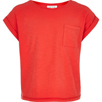 River Island Girls coral rolled sleeve t-shirt