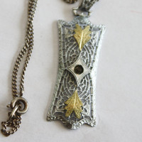 Art Deco Sterling Pendant Necklace Filigree Gold Leaf 1920s Art Deco Jewelry