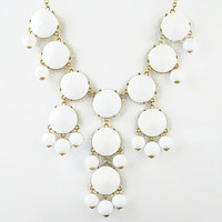 Color Bubble BIB Statement Necklace - soild white