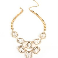Gold Rhinestone Gem Bib Necklace
