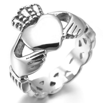 Women's Stainless Steel Ring Silver Irish Celtic Knot Irish Claddagh Friendship Love Heart Crown Polished