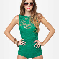 One Rad Girl Avery Romper - Green Bodysuit - Lace Bodysuit - $64.00