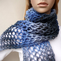Long Blue Scarf Hand Knit Scarf Wool Neck Warmer Unique Winter Accessory with Tassels