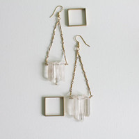 Raw Crystal Chevron Earrings - Quartz Crystal Chandelier Statement Earrings