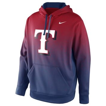 Nike Texas Rangers Mezzo Fade Performance Hoodie - Red/Royal Blue