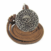 Brown Real Leather and alloy pendant adjustable necklace mens necklace  unisex necklace cool necklace B102