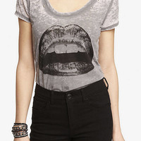 STUDDED BURNOUT GRAPHIC TEE - LIPS from EXPRESS