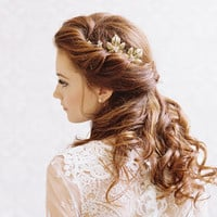 Gold leaf and rhinestone bridal hair pins - Style Soulmates no. 1987