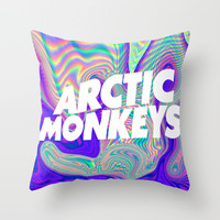 Psychedelic Arctic Monkeys Logo Throw Pillow by Julia