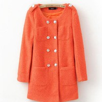 Double Breasted Wool Coat Orange$62.00