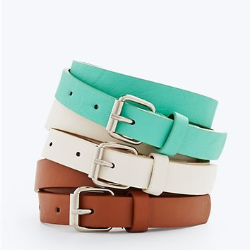 Skinny Faux Leather Belt Turquoise Trio