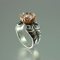 PINK LOTUS 14K gold and silver ring with Morganite