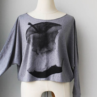 Apple Printed  on Pullover Oversize style Bat Style Half Body In Grey