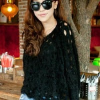 Black Rabbit Hair Hollow-out Bat Type Sweater$40.00
