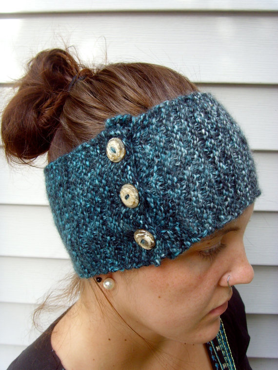 Knit Pattern Headband With Button Closure : Wool Knitted Button-Closure Headband/Ear from ...