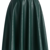 Faux Leather Belted Midi Skirt in Dark Green Green