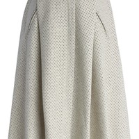 Eyelet Faux Suede Midi Skirt in Off-white Beige