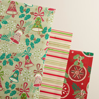 Striped Buon Natale Wrapping Paper Rolls, 3-Pack - World Market